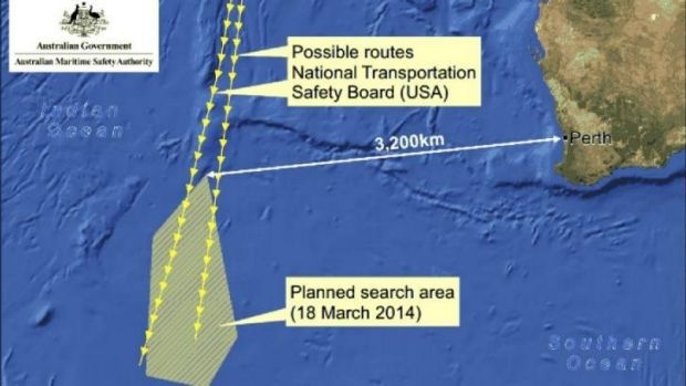 This graphic released by the Australian Maritime Safety Authority shows the original search area for the missing ...
