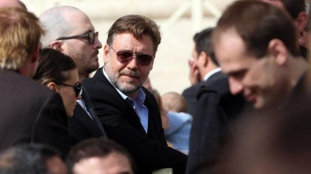 A blessing for the Rabbitohs: Actor Russell Crowe attends Pope Francis' weekly audience in St Peter's Square in Vatican City.