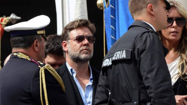 Actor Russell Crowe attends Pope Francis' weekly audience in St. Peter's Square.