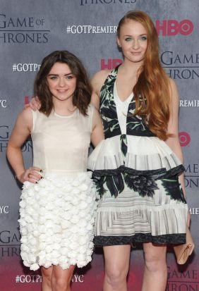Arya and Sansa ... Actresses Maisie Williams and Sophie Turner attend the <i>Game Of Thrones</i> Season 4 New York premiere.