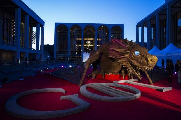 A dragon statue stands on a red carpet in preparation for the premiere of the HBO series <i>Game of Thrones</i> in New York.