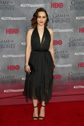 Dany ... Actress Emilia Clarke arrives for the premiere of the HBO series <i>Game of Thrones</i>.
