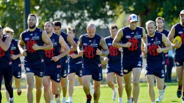 Nathan Jones, centre, in the middle of the Demons pack.