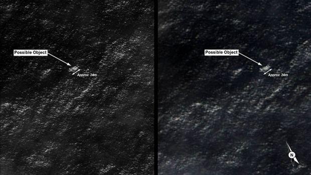 Imagery released by the Department of Defence showing the largest piece of potential wreckage.