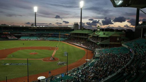 Historic moment: The first pitch of the LA Dodgers v Team Australia game at the Sydney Cricket Ground on Thursday night.