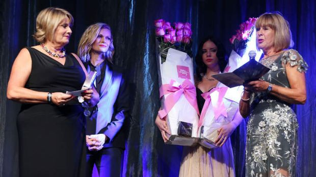 Charlotte Dawson's sisters Vicky Dawson and Robin Barclay accept an honorary ASTRA Award from Sarah Murdoch on behalf of ...