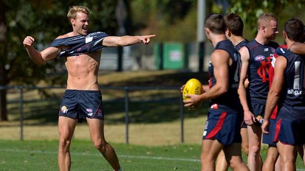 Good times: Jack Watts looks forward to his new understudy role at Melbourne training on Thursday.
