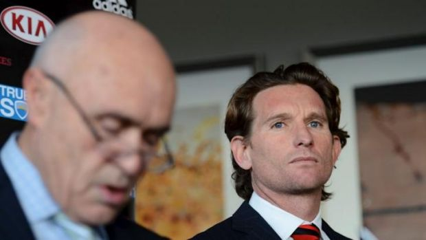 Warning: Suspended Essendon coach James Hird with chairman Paul Little.