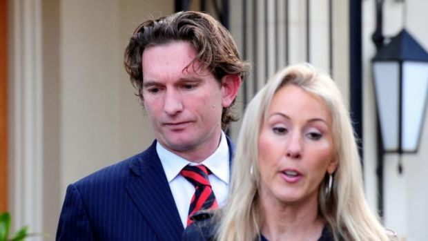 James Hird and his wife Tania leaving their Toorak home in August 2013.