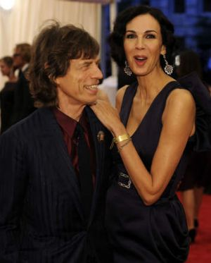 Mick Jagger and  L'Wren Scott.