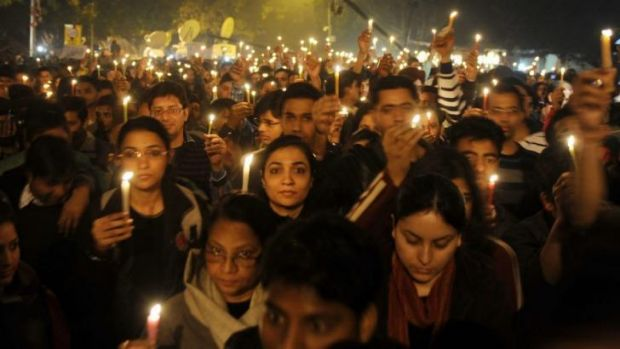 Protesters during a rally in New Delhi on December 29, 2012, after the death of a gang-rape victim.