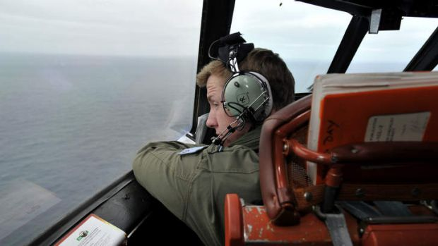 Flying Officer Benjamin Hepworth aboard Royal Australian Airforce AP-3C Orion.