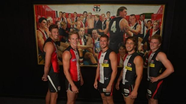 Young Saints Tom Hickey, Jimmy Webster, Nathan Wright, Josh Saunders and Jack Newnes at   the Seaford clubrooms.