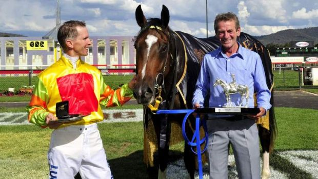 Lucky Raquie with trainer Gerald Ryan and jockey Glyn Schofield after winning the Black Opal Stakes on March 9.