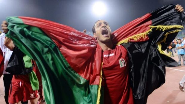 Triumph: Afghanistan celebrate victory in the 2013 South Asian Cup.