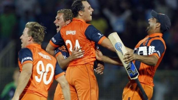 Jubiliation: The Dutch celebrate making it through to the next round.