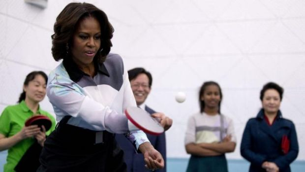 Ping-pong diplomacy: US first lady Michelle Obama plays table tennis.