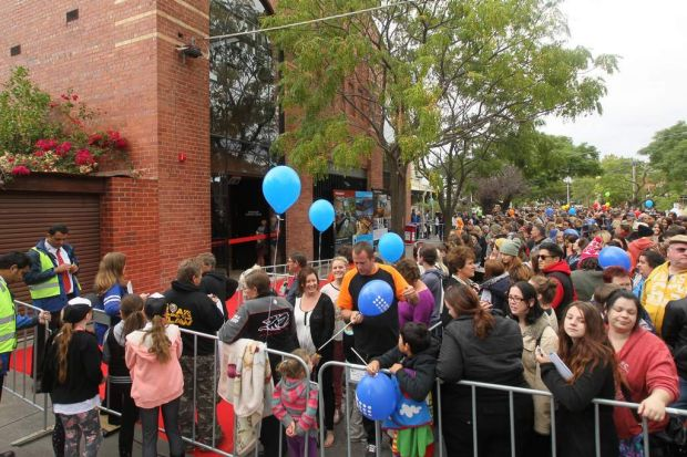Crowds gathered this morning at The Block, before the doors opened.