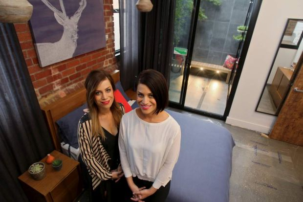 The Block contestants Alisa and Lysandra pictured inside one of their apartment bedrooms.