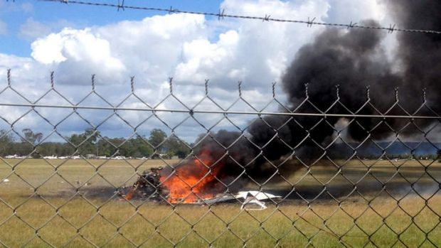 The Cassna skydiving plane that crashed shortly after take off at Caboolture, killing 5 people. Photo: Seven News