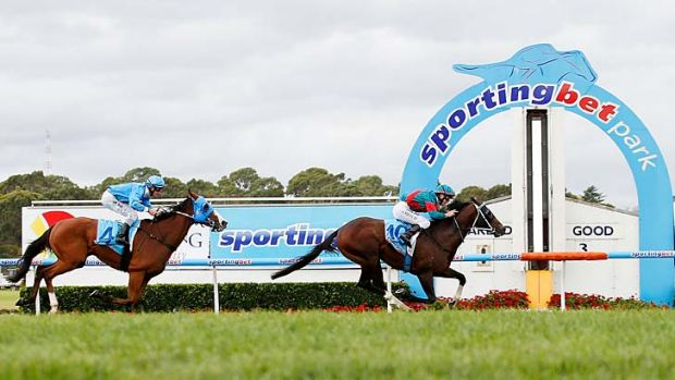 Linda Meech rides Office Bearer to victory in the City Of Greater Dandenong Stakes.