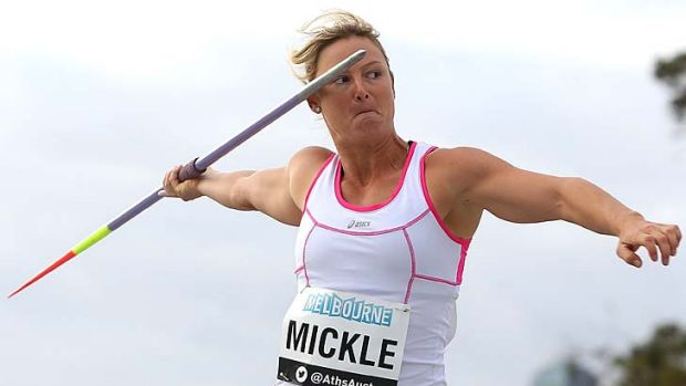 Kim Mickle takes aim during during the IAAF Melbourne World Challenge at Olympic Park on Saturday.
