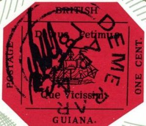 A reproduction of the Guyanese one-cent magenta stamp, the rarest in the world.