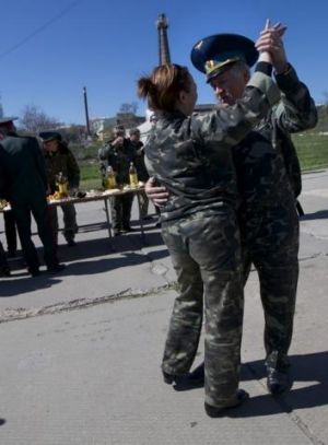 Last waltz: Ukrainian airmen celebrate the wedding of two of their comrades in the Belbek airbase's last hours under ...