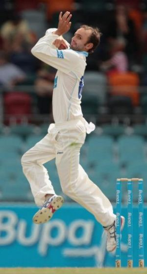 NSW and Australian spinner Nathan Lyon failed to take a wicket but was tidy from his 18 overs.