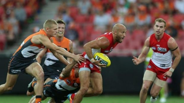 Jarrad McVeigh makes a break during the game against the Greater Western Sydney Giants.