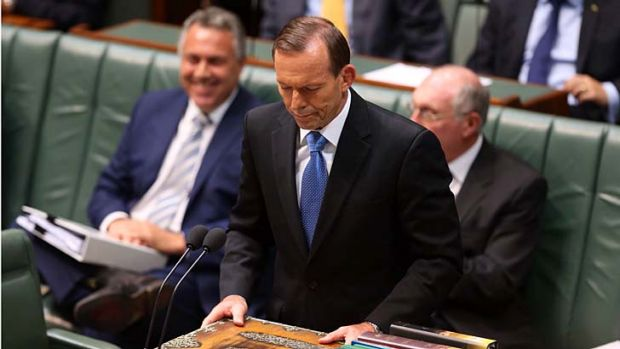 Prime Minister Tony Abbott during question time in Parliament House in Canberra on Monday.