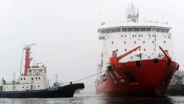 The Chinese icebreaker Xuelong, right, is on its way to the search area.