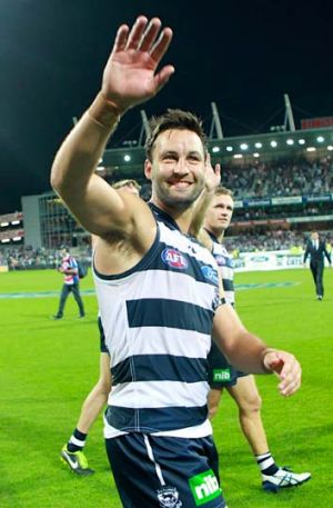 Jimmy Bartel leaves the field after his 250th game.