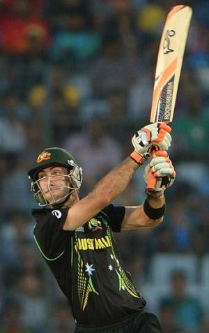 Glenn Maxwell hits a boundary during the T20 against Pakistan.