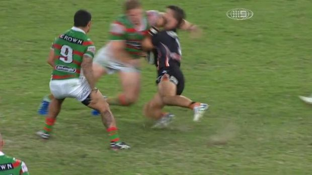 George Burgess connects with Tedesco at speed.
