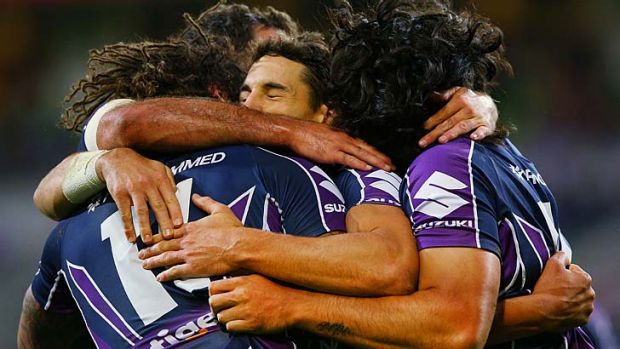 Kevin Proctor celebrates a try.