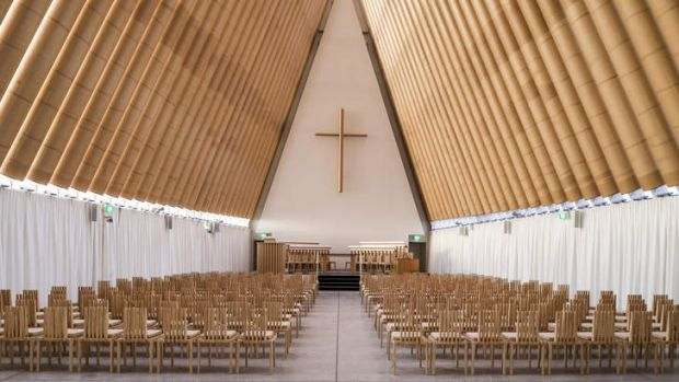 Inner tubes: The interior of Christchurch's cardboard cathedral.