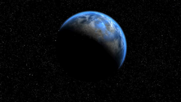 Artist impression of planet Gliese 581d - a super earth about 8 times the size of our planet.