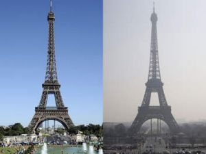 Hazy days: These photos show the Eiffel Tower during clear weather on August 17, 2012 and through a haze of pollution on ...