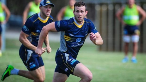 Robbie Coleman on the run at Brumbies training.