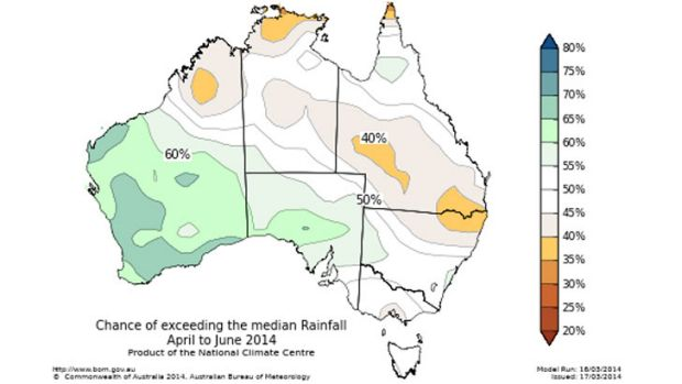 Drier-than-usual outlook for rainfall in eastern Australia.
