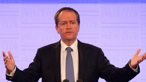 Opposition Leader Bill Shorten at the Press Club. Photo: Andrew Meares