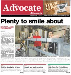 The front page of the local Bullsbrook newspaper, The Advocate.