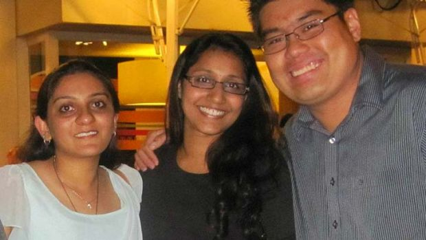 Meena Narayanan with friends Nishita Dhulia (left) and Paul Louis Liew (right).