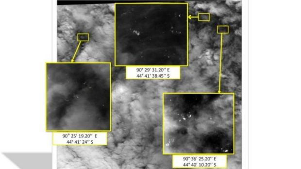 Satellite imagery taken on March 23 with the approximate positions of objects seen floating in the southern Indian Ocean ...