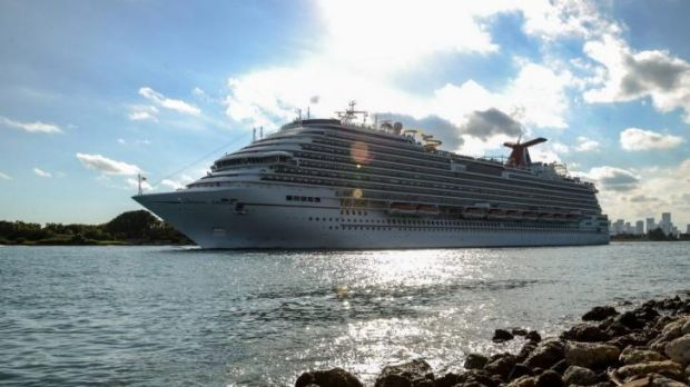 Carnival's Breeze cruise ship leaving the Port of Miami in  Florida.