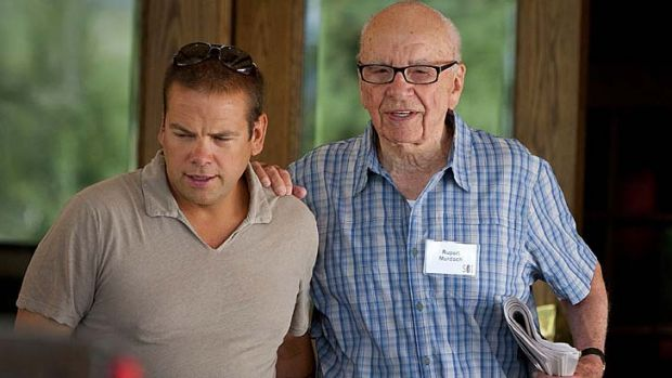 Next in line?: Lachlan Murdoch with his father.