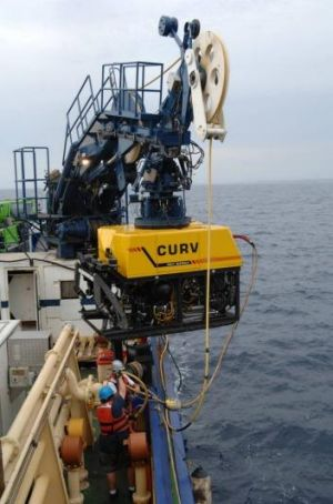 Salvage equipment on the Seahorse Standard during the search for an Army Black Hawk which sank in deep waters off Fiji.