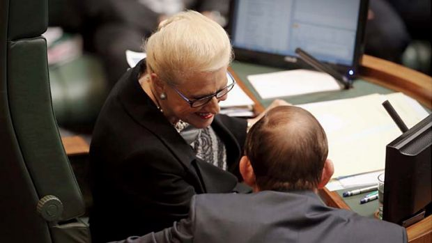 Prime Minister Tony Abbott talks with Speaker Bronwyn Bishop during question time.