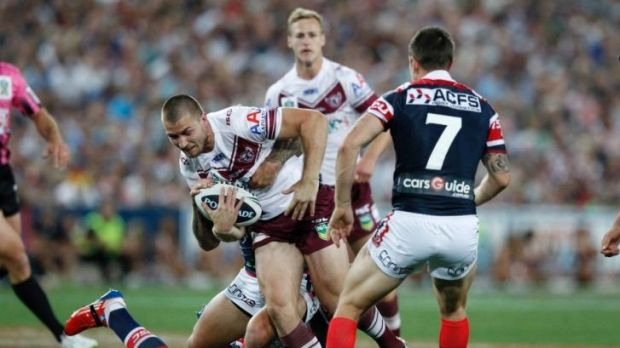 Injury worry: Manly five-eighth Kieran Foran makes a charge during last year's grand final loss to the Roosters. The ...